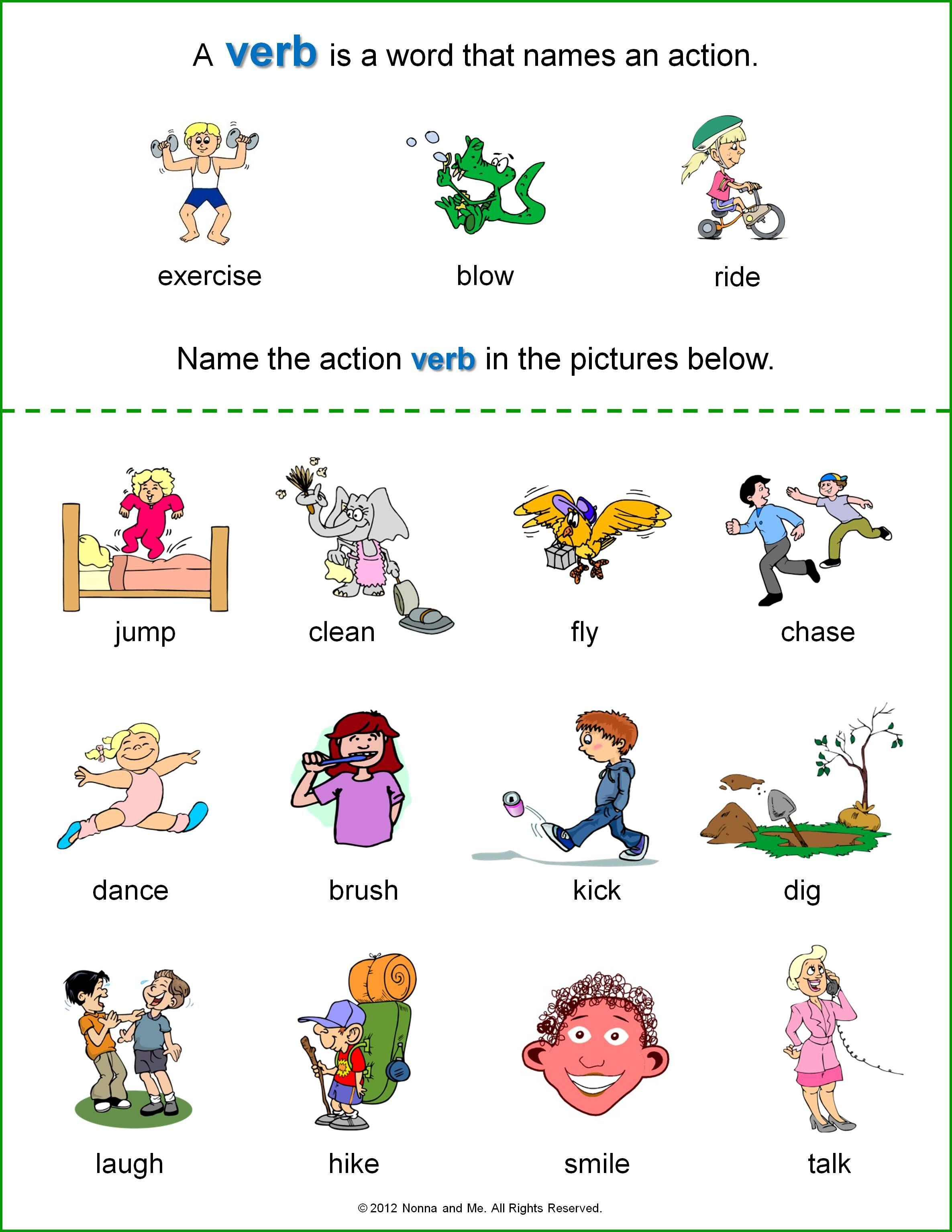verb worksheets kindergarten - Google Search | Language Arts ...