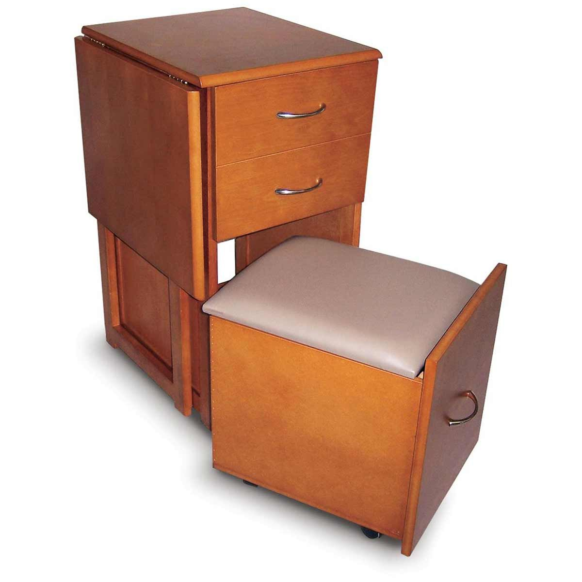 space saver desk and stool with two drawers storage in the stool fold up side for more work. Black Bedroom Furniture Sets. Home Design Ideas
