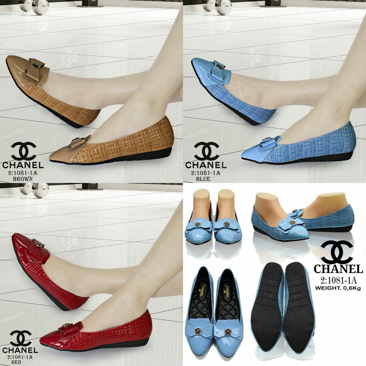 Sepatu Chanel 1081 1a Semprem Bahan Glossy Blue Brown Red