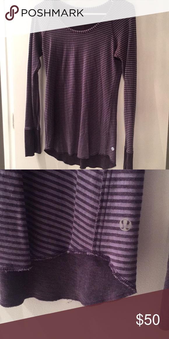 d64f07af63 reversible lulu lemon long sleeve solid purple on one side, purple stripes  on other lululemon athletica Tops