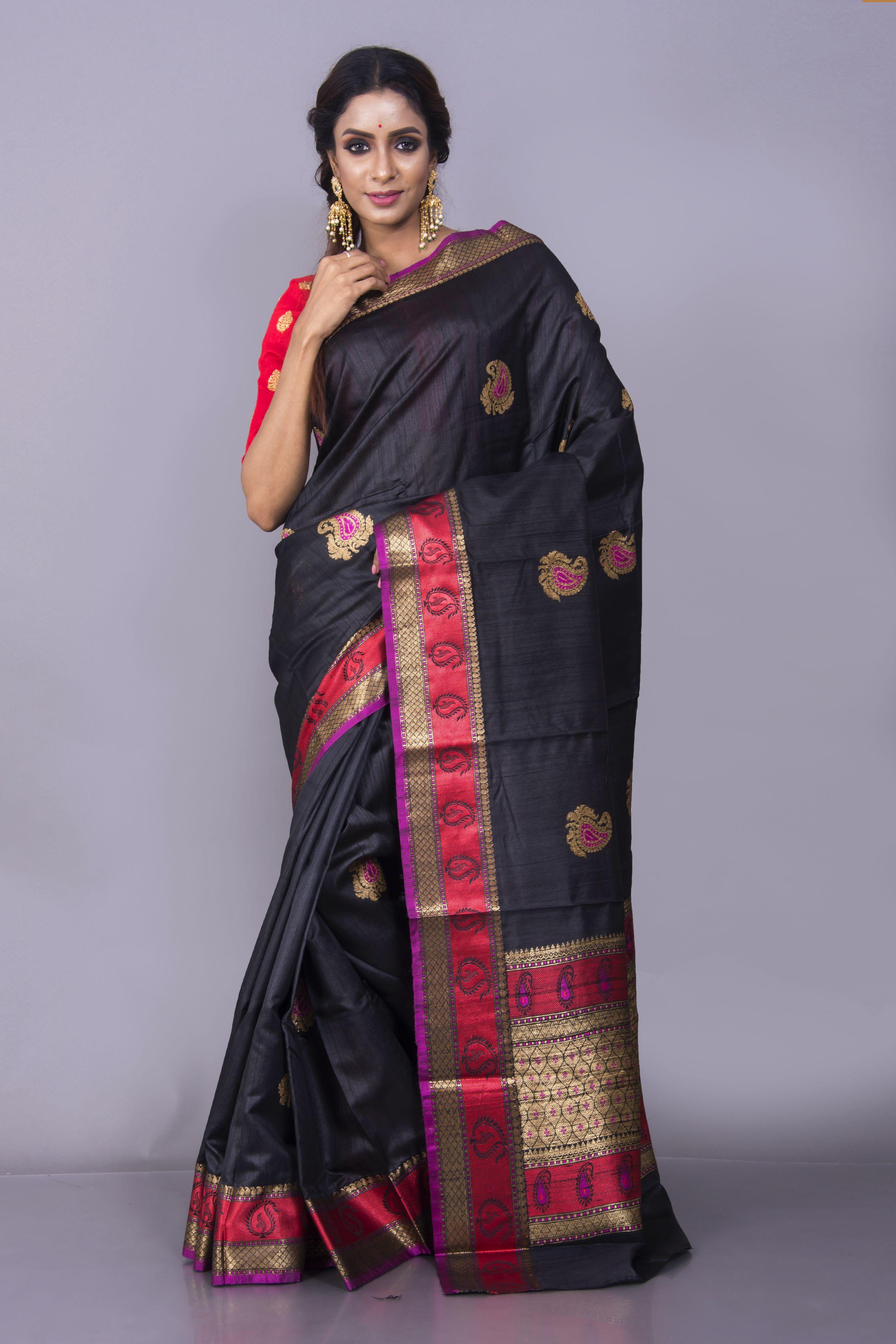 Pure Tussar Banarasi Saree in Black and Red Saree