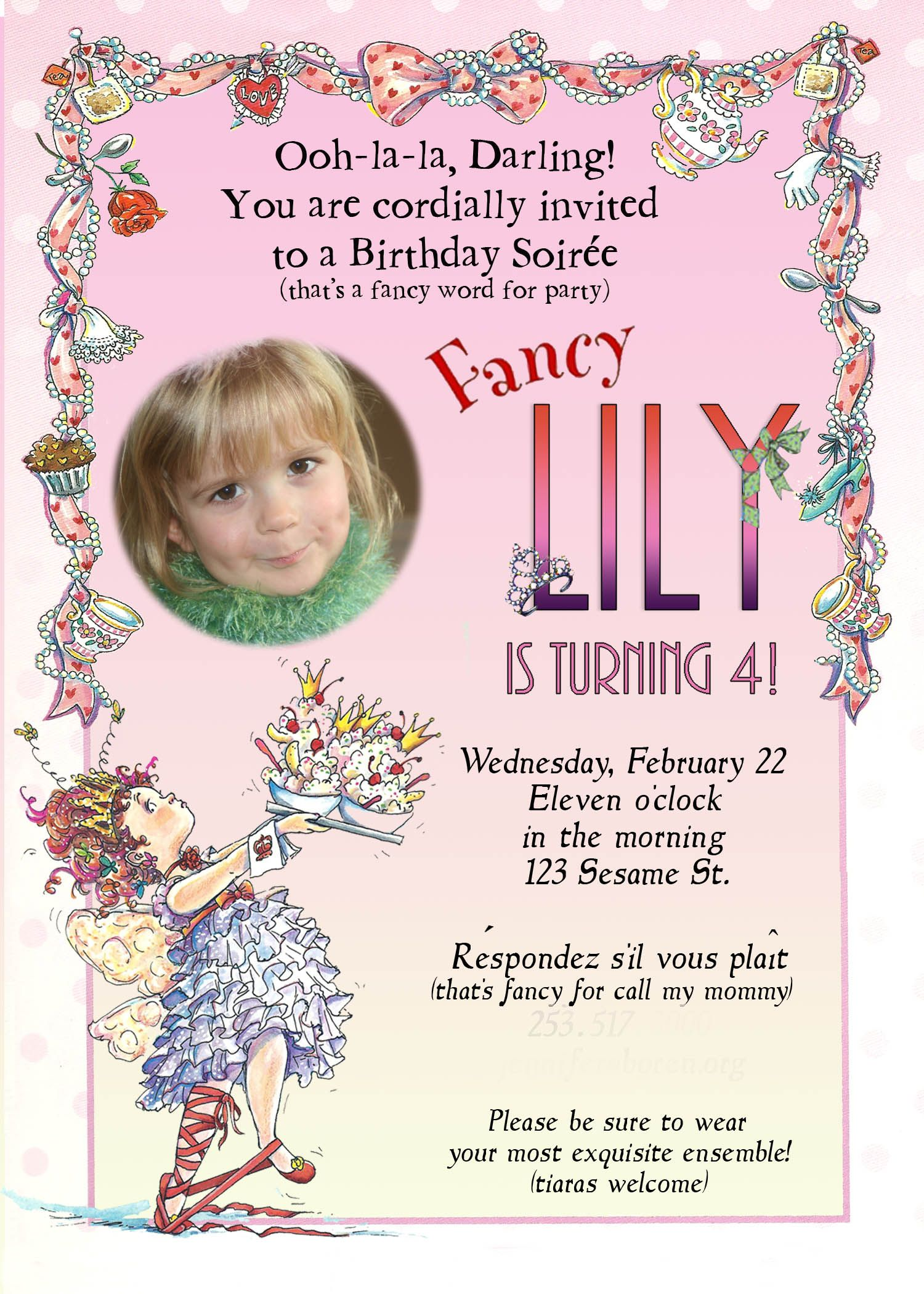 This is the invitation I made for Lily\'s Fancy Nancy Party | Fancy ...