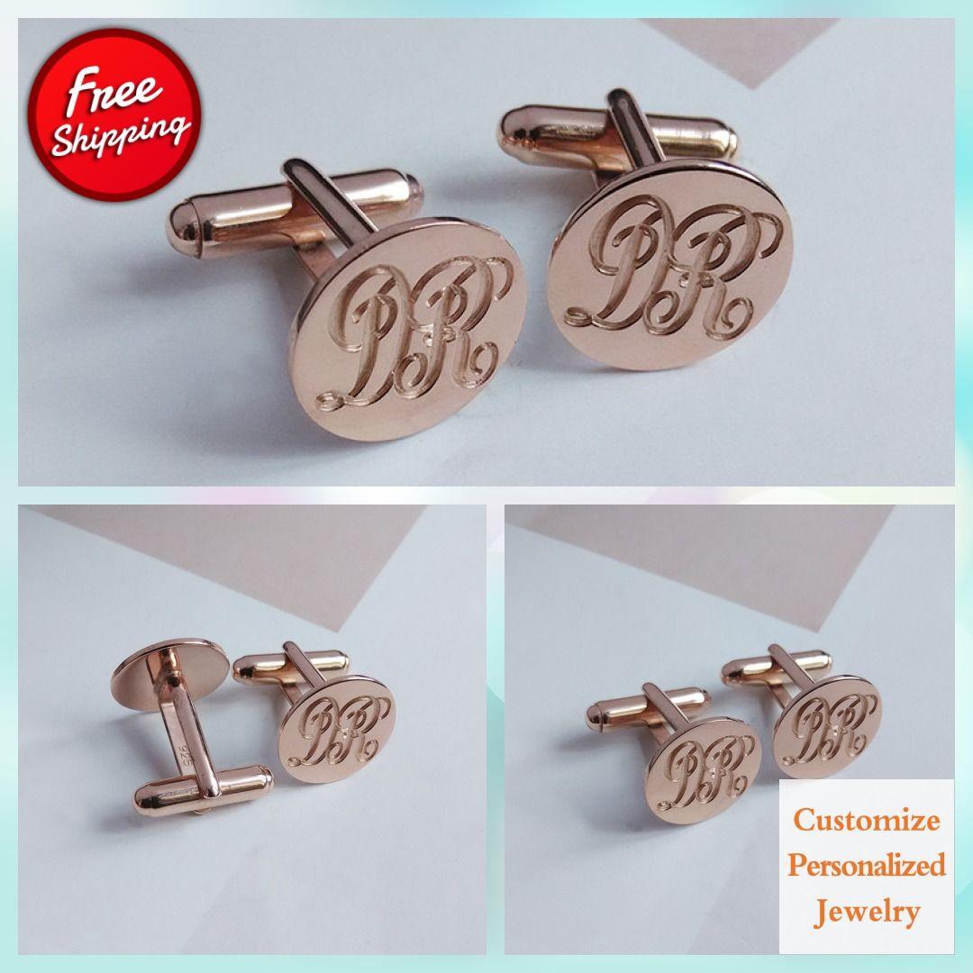 White Gold Men CuffLinks,Groom Wedding Gift,Engraved Monogram CuffLinks,Gift for Fathers Day,Elegant Monogrammed Cufflinks