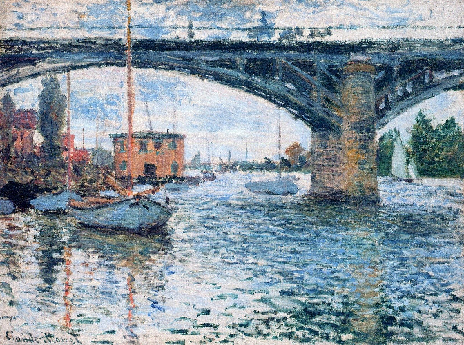 The Bridge at Argenteuil, Grey Weather, 1874. Claude Monet