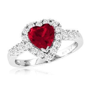 10k White Gold Heart Shaped Created Ruby And Round Created White Sapphire Heart Ring Size 10 Heart Shaped Ruby Rings Heart Jewelry Jewelry