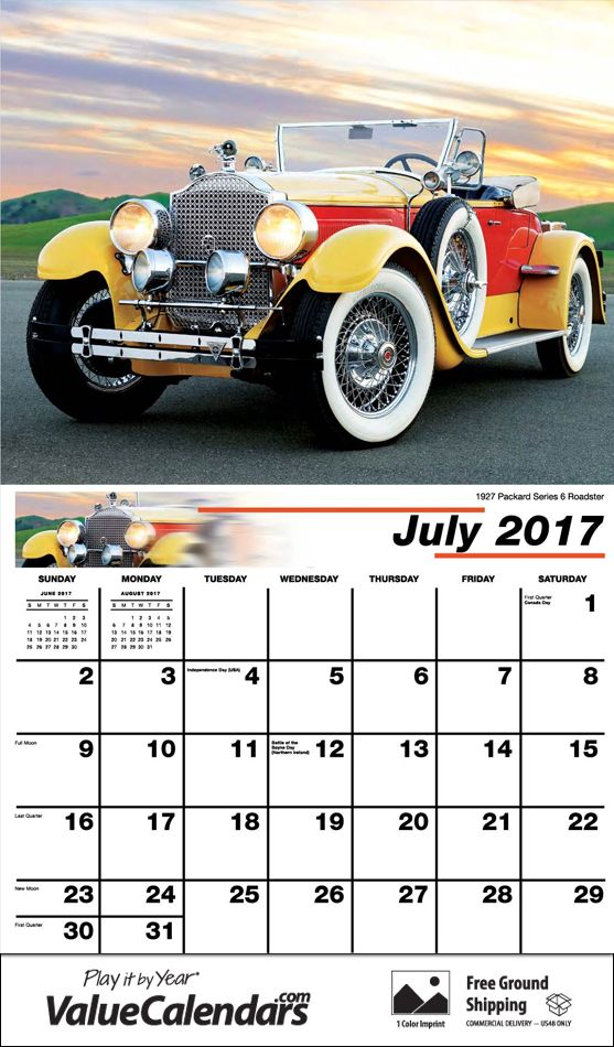 2017 Classic Cars Calendar | Low Cost Customized Staple Bound ...