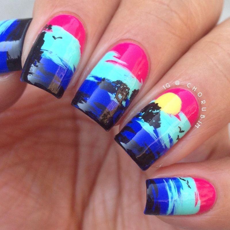 Pop Art Sunset nail art by Cho | Nails | Pinterest | Sunset nails ...