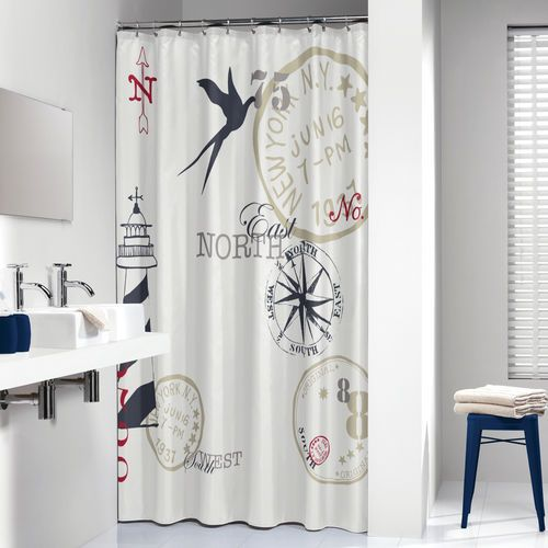 Extra Long Shower Curtain 72 X 78 Inch Sealskin Faro Nautic Print Fabric
