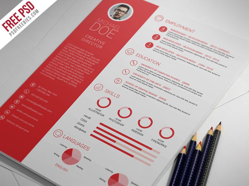 Freebie  Clean And Professional Resume Free Psd Template - free resume builder download and print