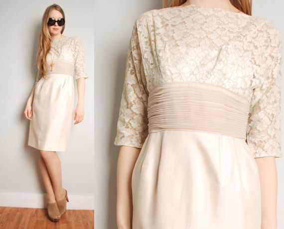 Vintage Cream Silk Ruched Scalloped Lace Wedding Cocktail
