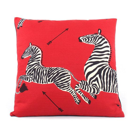 Scalamandre Red Zebra Pillow Cover Throw by ChloeandOliveDot