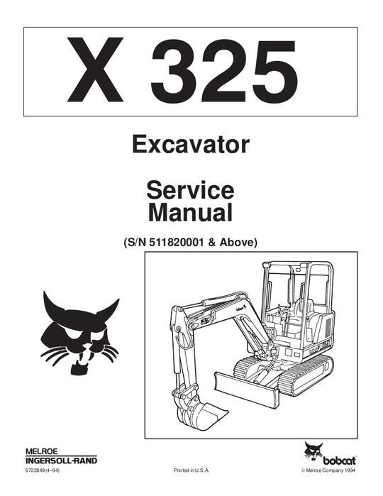 Bobcat X325 Hydraulic Excavator S/N: 511820001 & Above