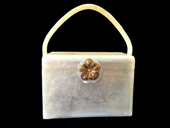 Wilardy Lucite Purse Pearlized Signed Mother of Pearl Clasp Rockabilly