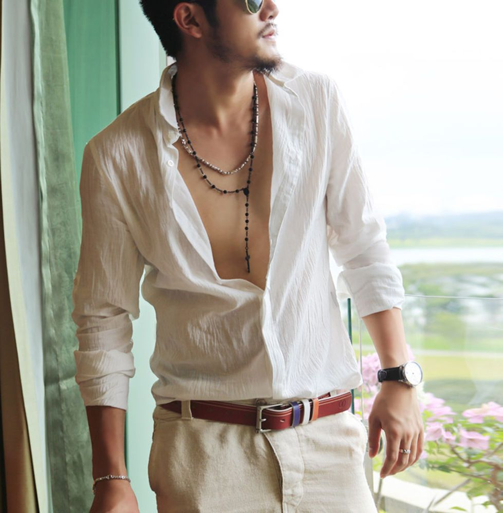 Details about Mens Linen Cotton Blend Sexy Hawaii Style Shirts ...