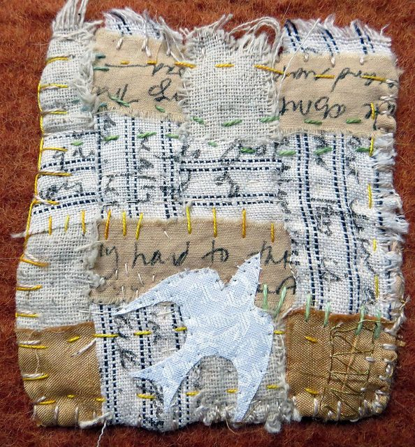 detail of text and textiles:  I Remember that Summer by Jane LaFazio
