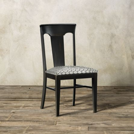 Holmes Dining Side Chair With Upholstered Seat In Aged Black