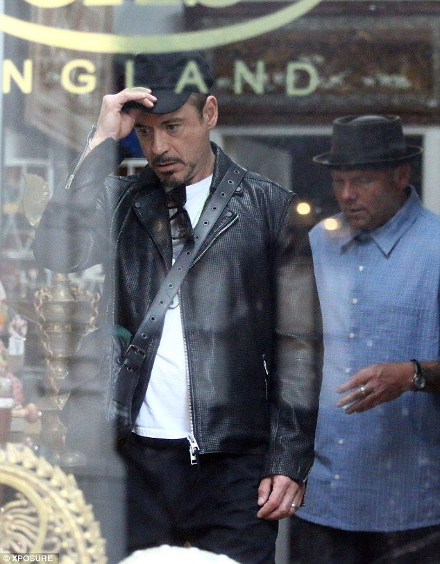 "Robert Downey Jr. antique-shopping in Marylebone, London, May 10, 2014. They're back in London filming ""Avengers: Age of Ultron."""