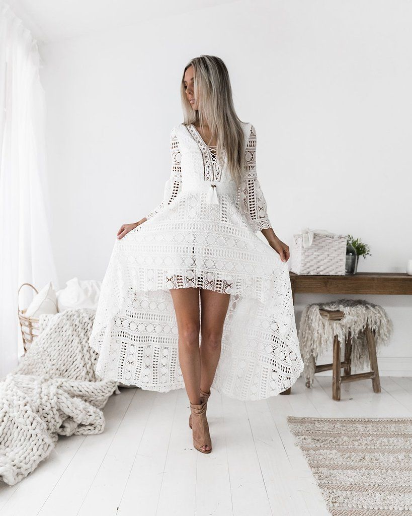 Boho High Low Dress High Low Dress Dresses White Dress [ 1024 x 819 Pixel ]