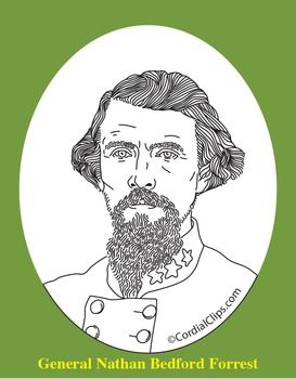 General Nathan B Forrest Realistic Clip Art Coloring Page And Poster Clip Art Coloring Pages Black And White Lines