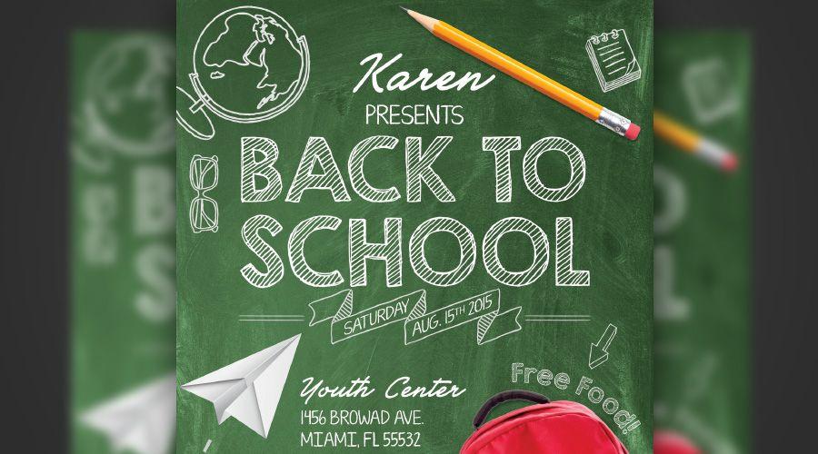 free back to school chalkboard flyer web print elements