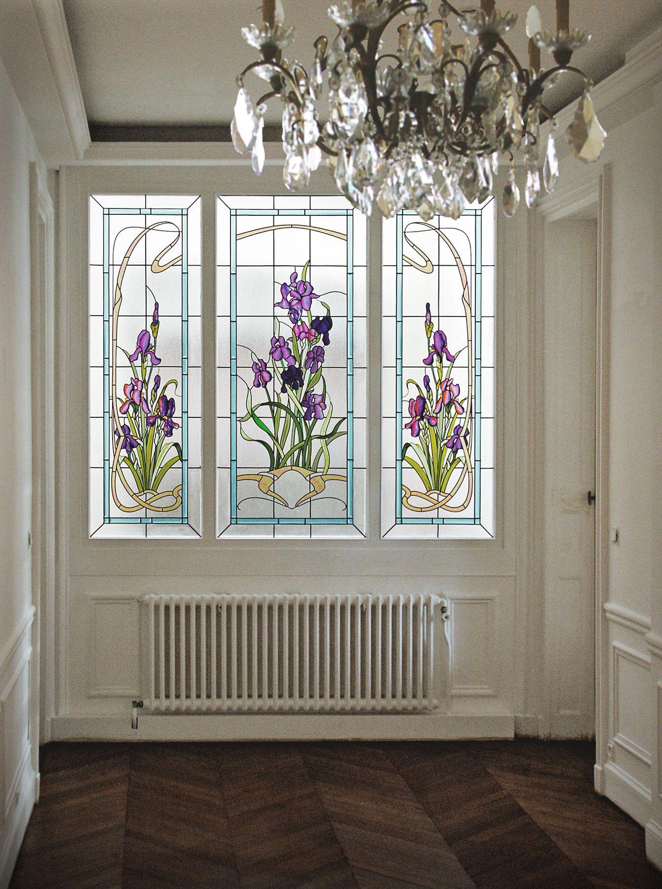 fen tre couloir immeuble hausmannien iris films couleur avec reprise au pinceau et vernis. Black Bedroom Furniture Sets. Home Design Ideas
