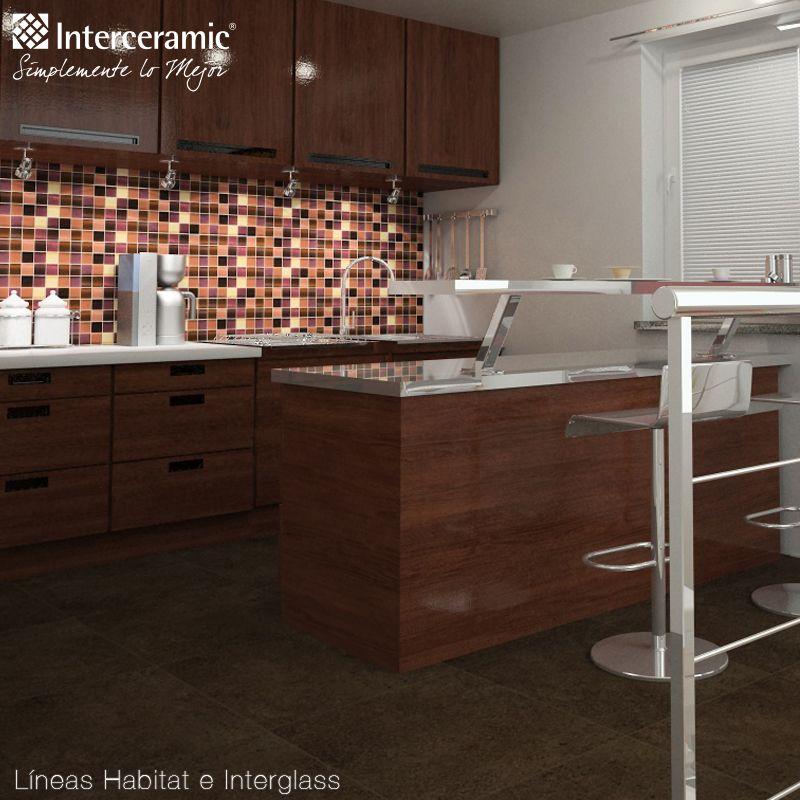 Puedes utilizar azulejos para crear contrastes dentro de tu cocina