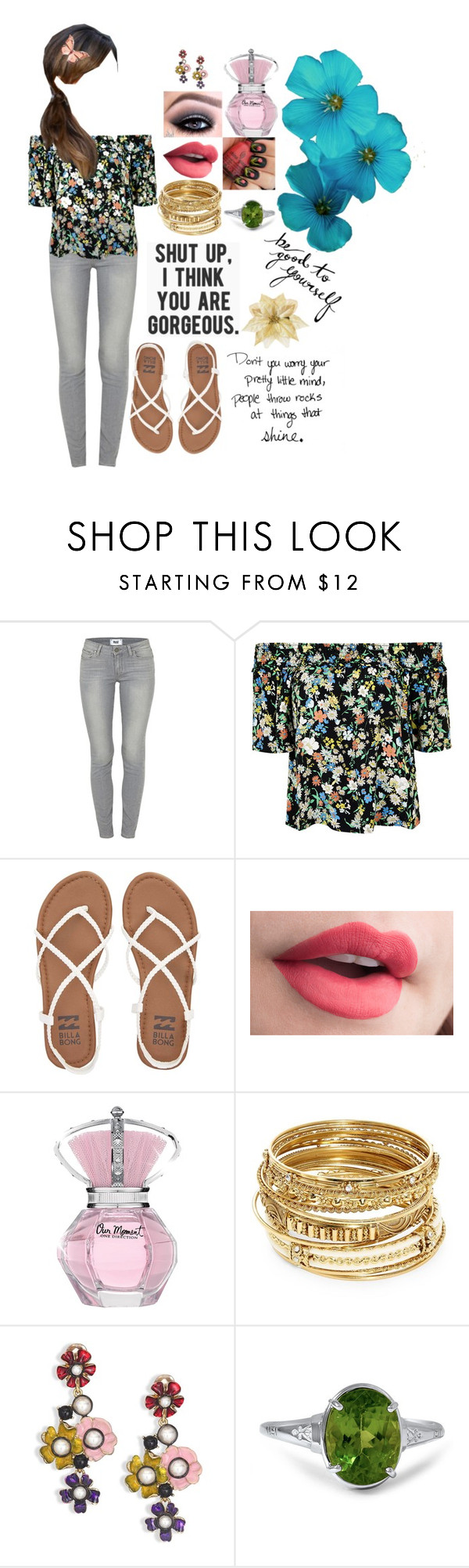 """Untitled #218"" by lil1daffodil2baby3girl4 ❤ liked on Polyvore featuring Paige Denim, Topshop, Billabong, ABS by Allen Schwartz and Oscar de la Renta"