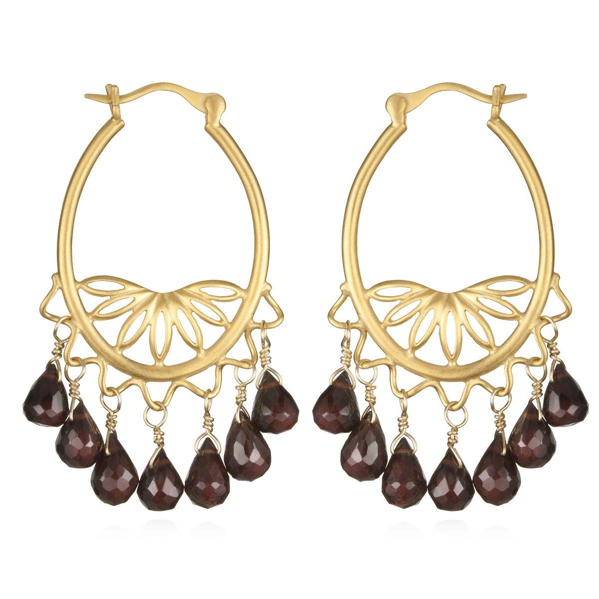 Garnet Chandelier Earrings Satya Jewelry