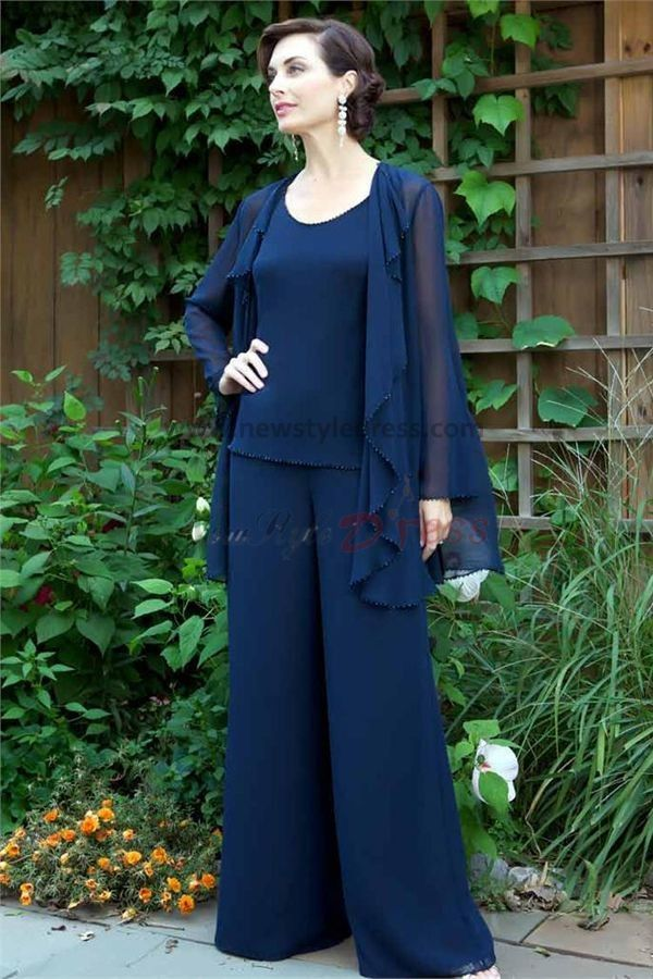 Royal Blue Three Piece Chiffon mother of the bride pants suits With ...
