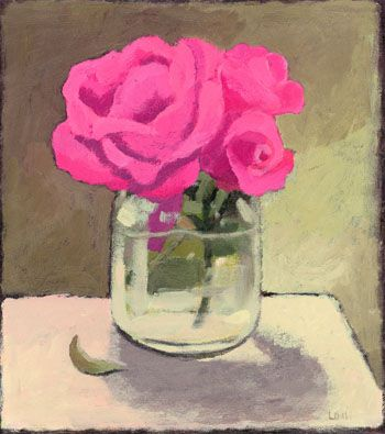 """Laura Dronzek, PINK ROSES IN A GLASS JAR, Acrylic on Paper mounted on Panel,  9 x 8', 14 x 13"""" framed"""