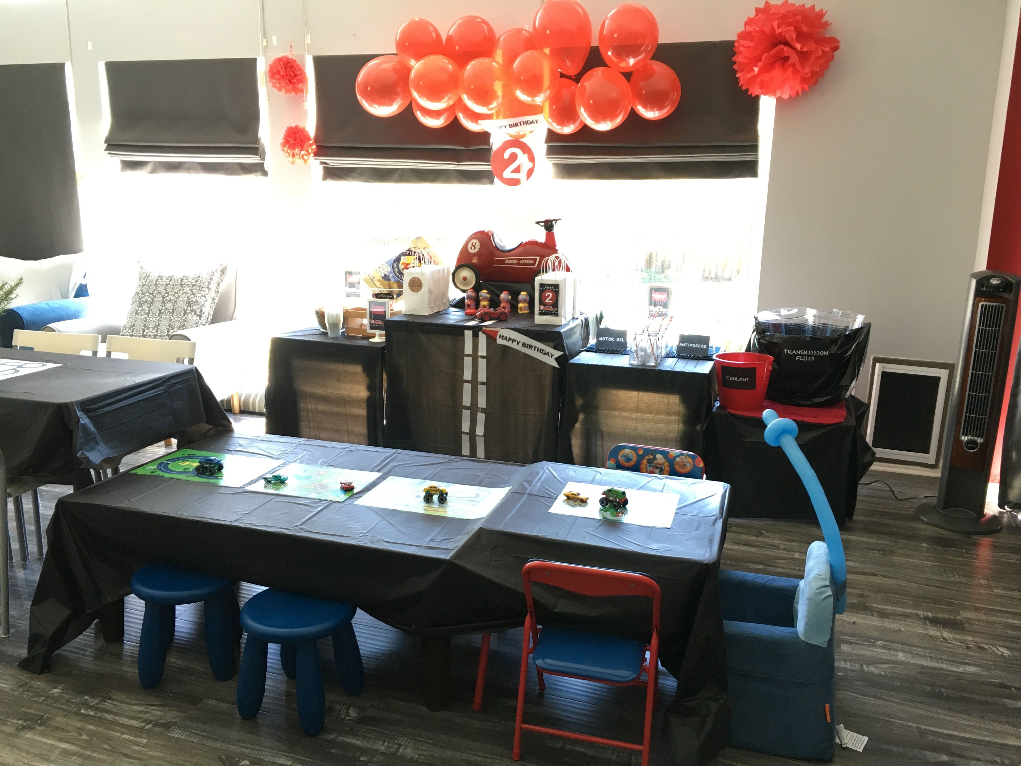 Retro Race Car Theme Birthday Party   Simple Kids Table Setting Using Black  Vinyl Table Cover