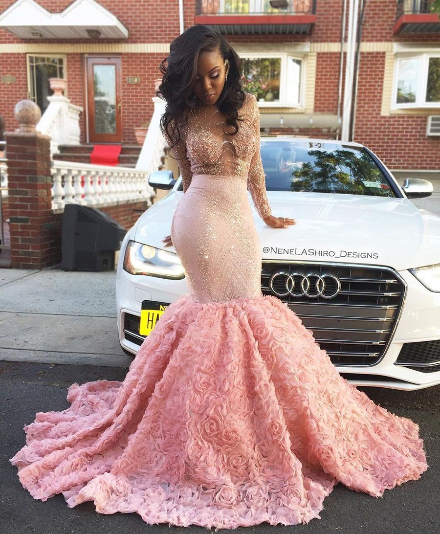 Luxury sheer long sleeve pink beaded rose flowers trumpet prom dress