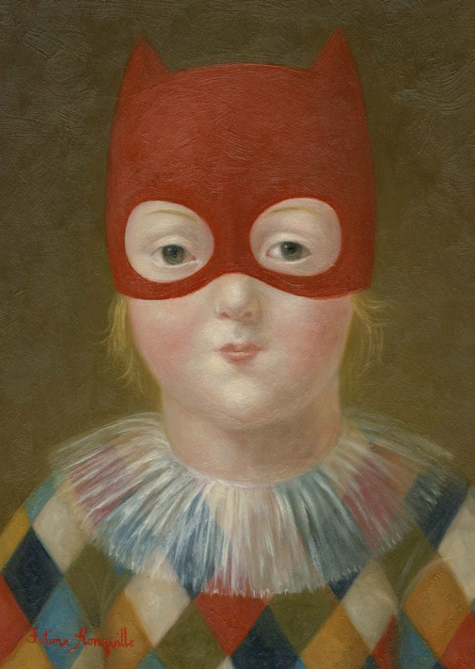 "Painting by Fatima Ronquillo, 2010, ""Circus Kid"", oil on panel."