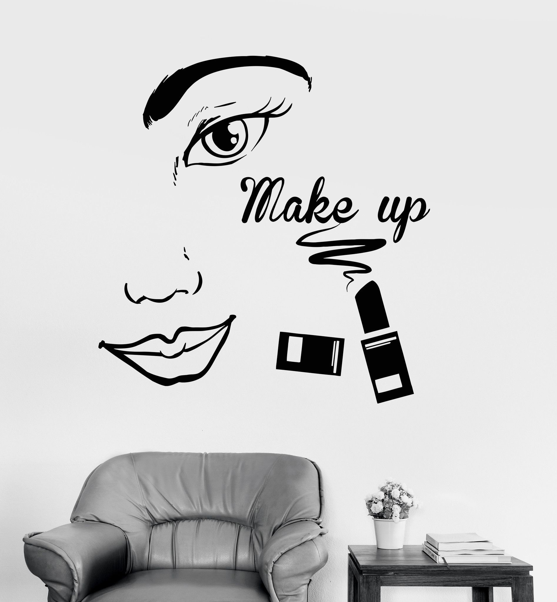 Wall decal new york letter frame cheap stickers world discount - Vinyl Wall Decal Make Up Beauty Salon Face Woman Girl Room Stickers Ig4057