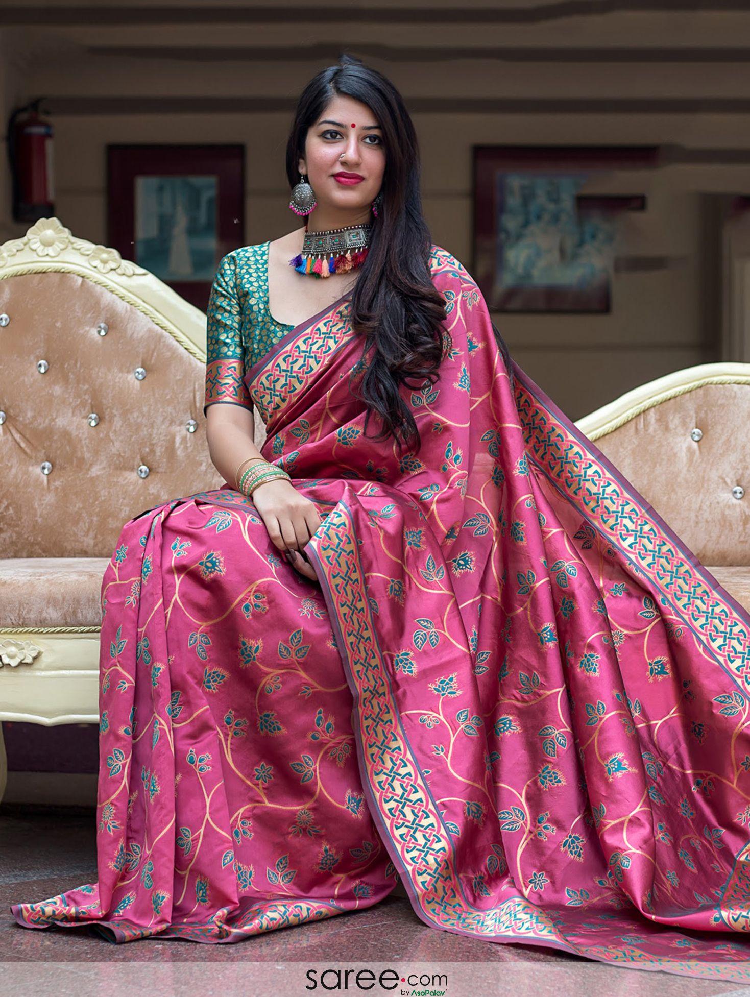Indian Bollywood Banarasi Semi Silk Saree with Zari Weaving Wedding Sari