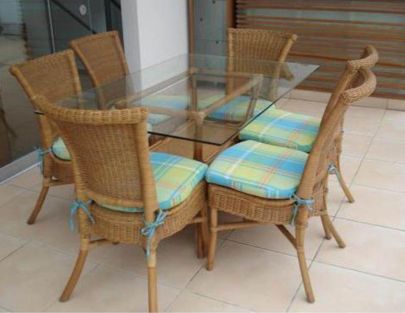Comedor Rattan con mimbre, 6 sillas con cojín varios colores, base ...