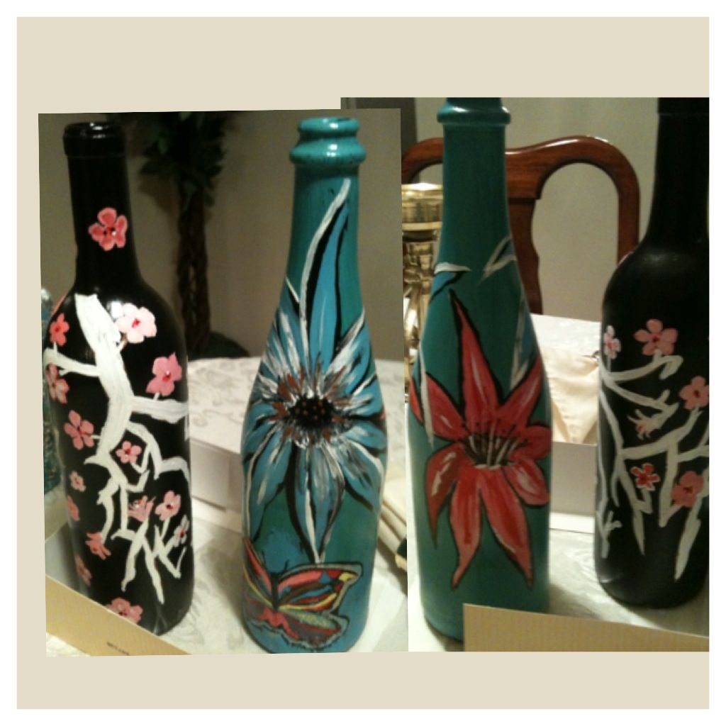 Painted bottles with acrylic paints