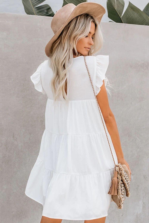White Tiered Pocket Ruffled Babydoll Mini Dress Simple Lace Dress White Ruffle Dress Babydoll Dress [ 1500 x 1001 Pixel ]