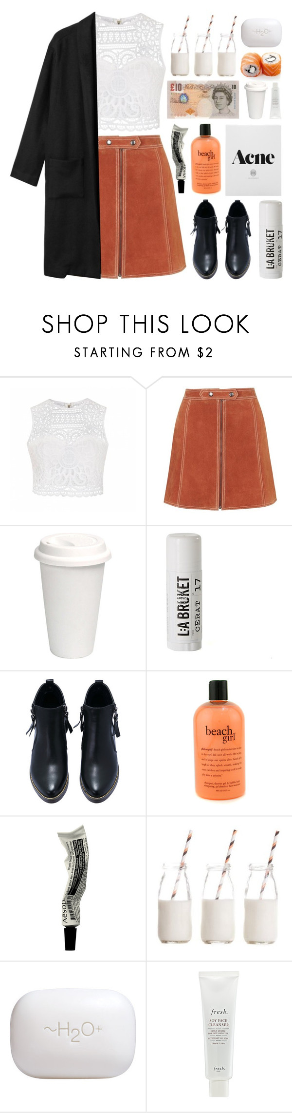 """Act like you know me, but you never will"" by pickiestpeach ❤ liked on Polyvore featuring Ally Fashion, Topshop, L:A Bruket, philosophy, Aesop, Dress My Cupcake, H2O+ and Fresh"