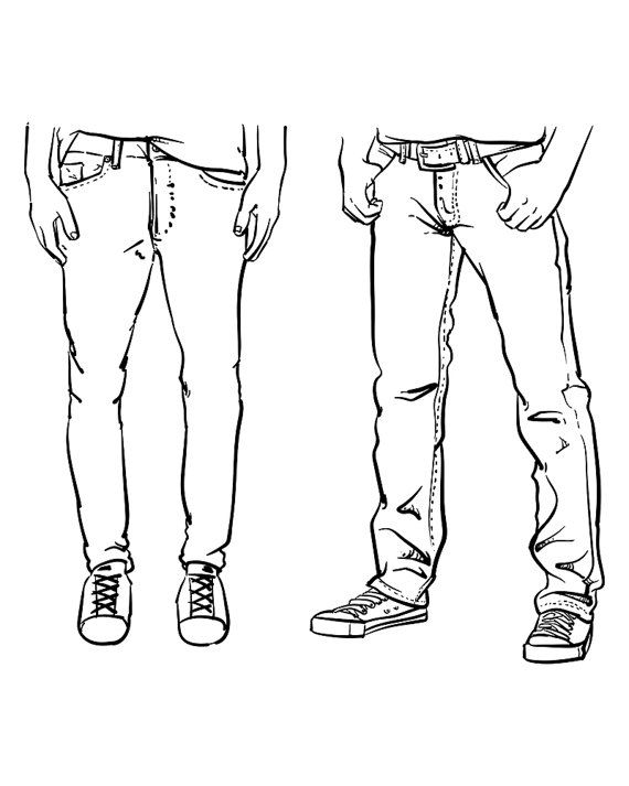 Hand drawn fashion Collection of men's jeans. Vector
