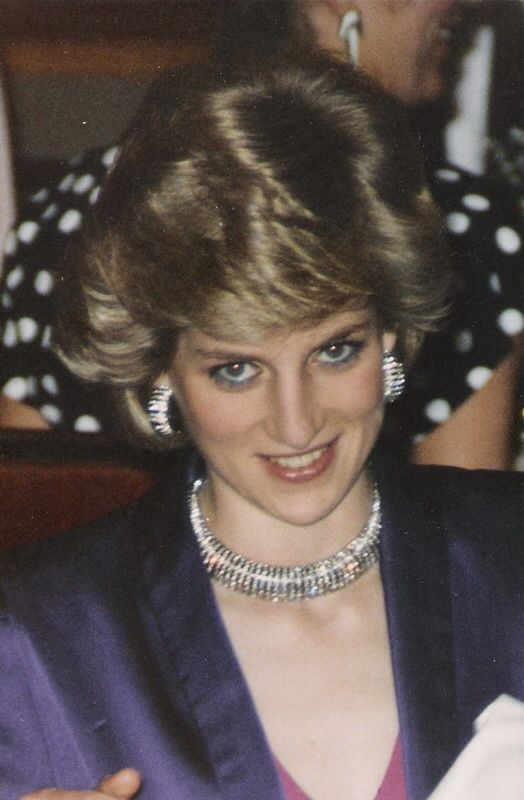 Diamond Ribbed Collar Necklace With Matching Earrings. This is the only picture of Diana wearing this particular necklace.