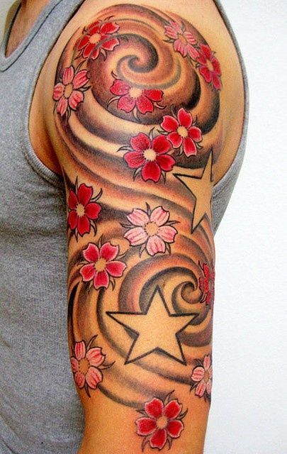 Tattoo Sleeve Filler Ideas For A Woman: Asian Cherry Blossoms Tattoo On Arm