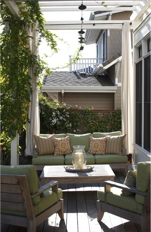 Draw some style Lend softness, color, and privacy to your porch with the addition of fabric panels. Install panels on a rod or cable so you can draw them closed or open, as you wish. Choose from a wide variety of fabrics specially treated for outdoor use so the panels won't stain, fade, or deteriorate when exposed to sun and precipitation.