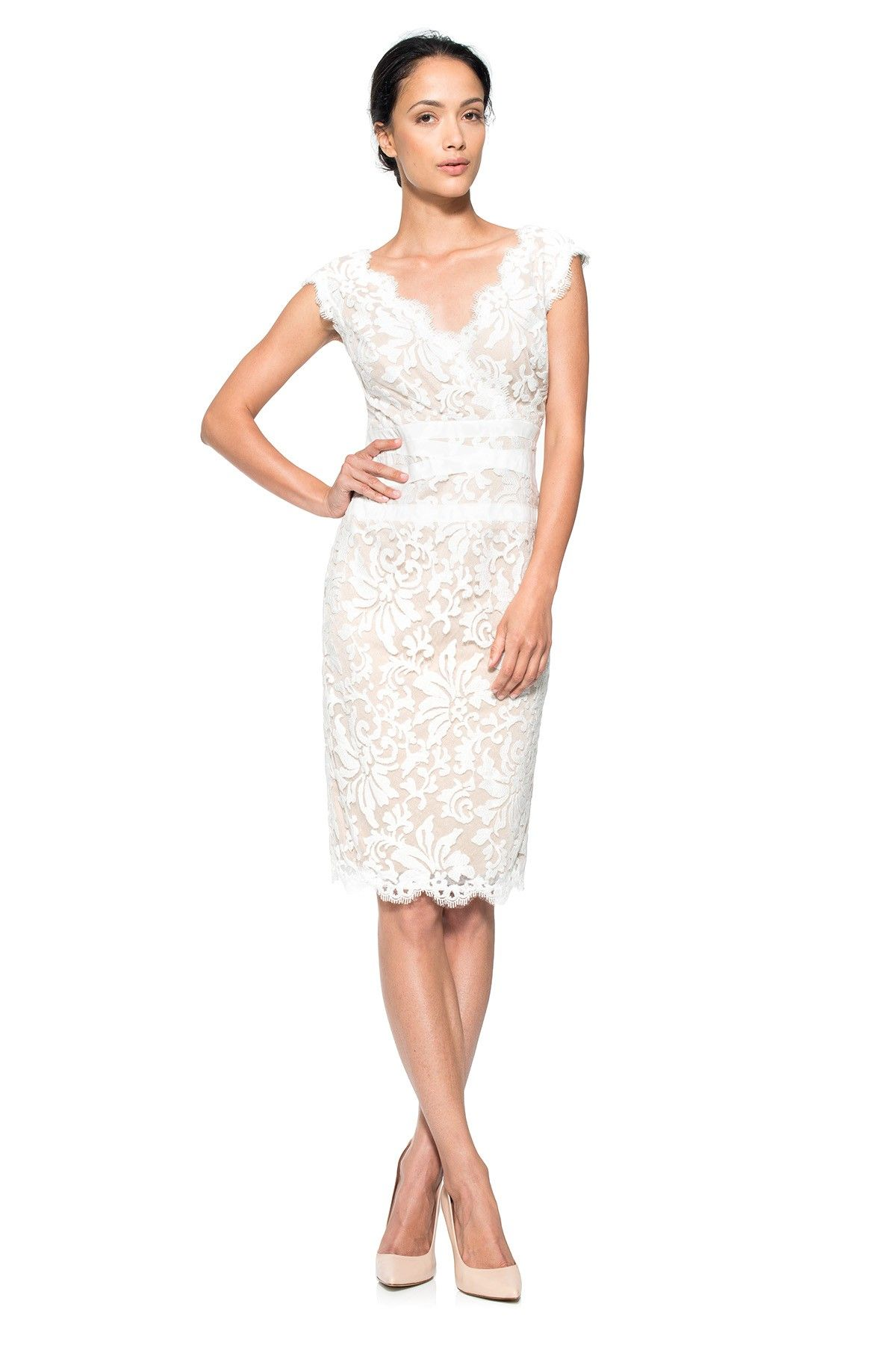 Embroidered Lace V Neck Dress Tadashi Shoji