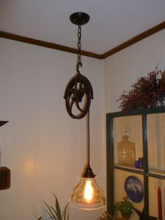 My Husband Took Grandfather S Pulley And Made A Light Over The End Table Fixture Was From World Market