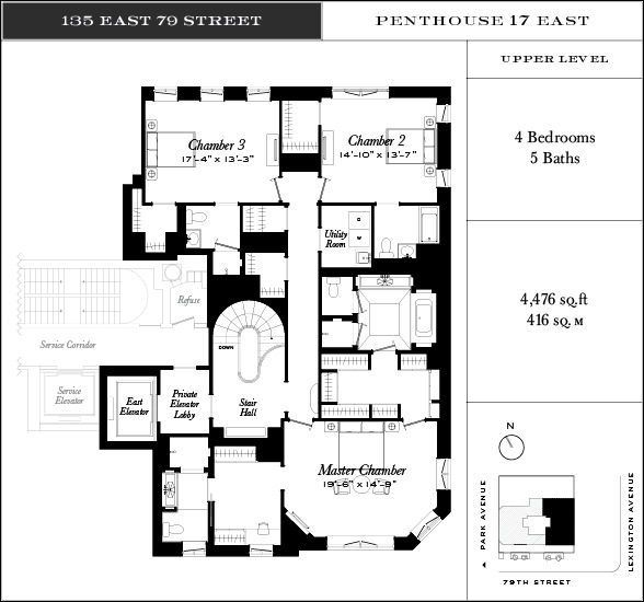 17 South Apartments: 135 East 79th Street Penthouse 17 East Upper Level