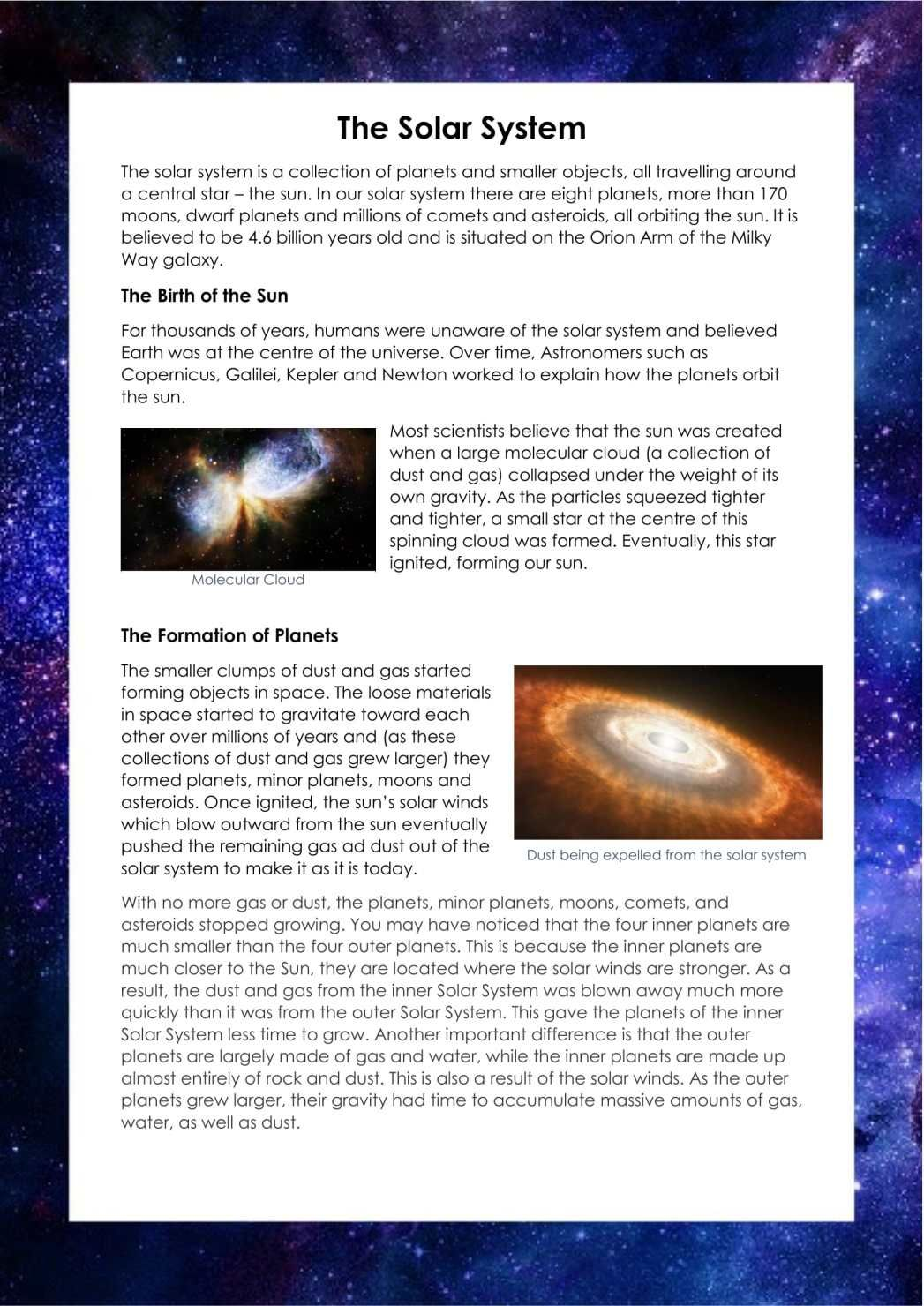 Space Information Text Ks2