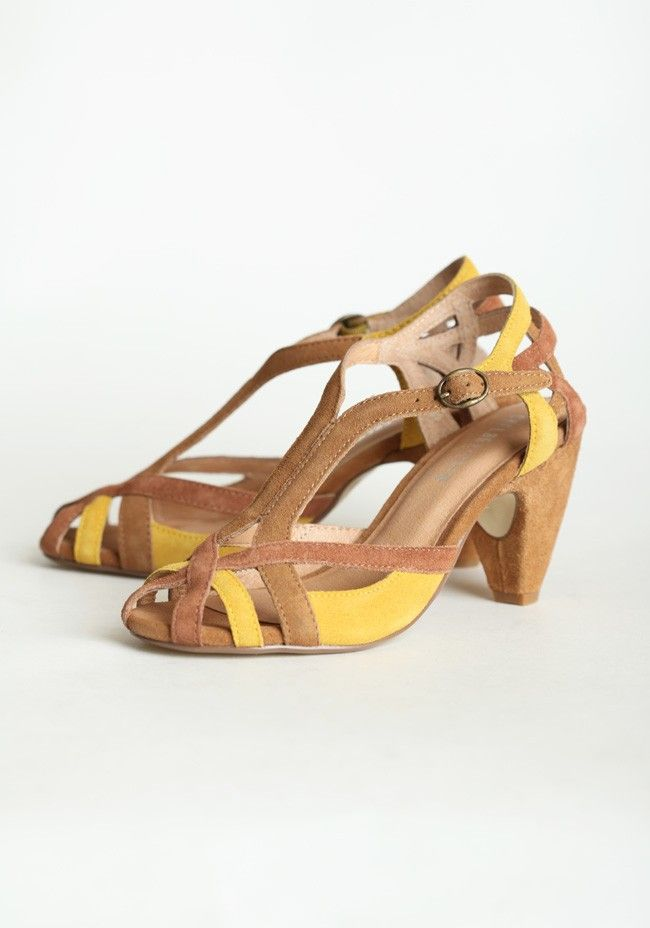 """Caymen Strappy Heels By Chelsea Crew 66.99 at shopruche.com. Effortlessly sophisticated, these suede tan and mustard heels feature a classic design with an adjustable ankle strap., , Leather upper, Balance man-made, Sole: rubber, Heel: 3.5"""", Cushioned footbed"""