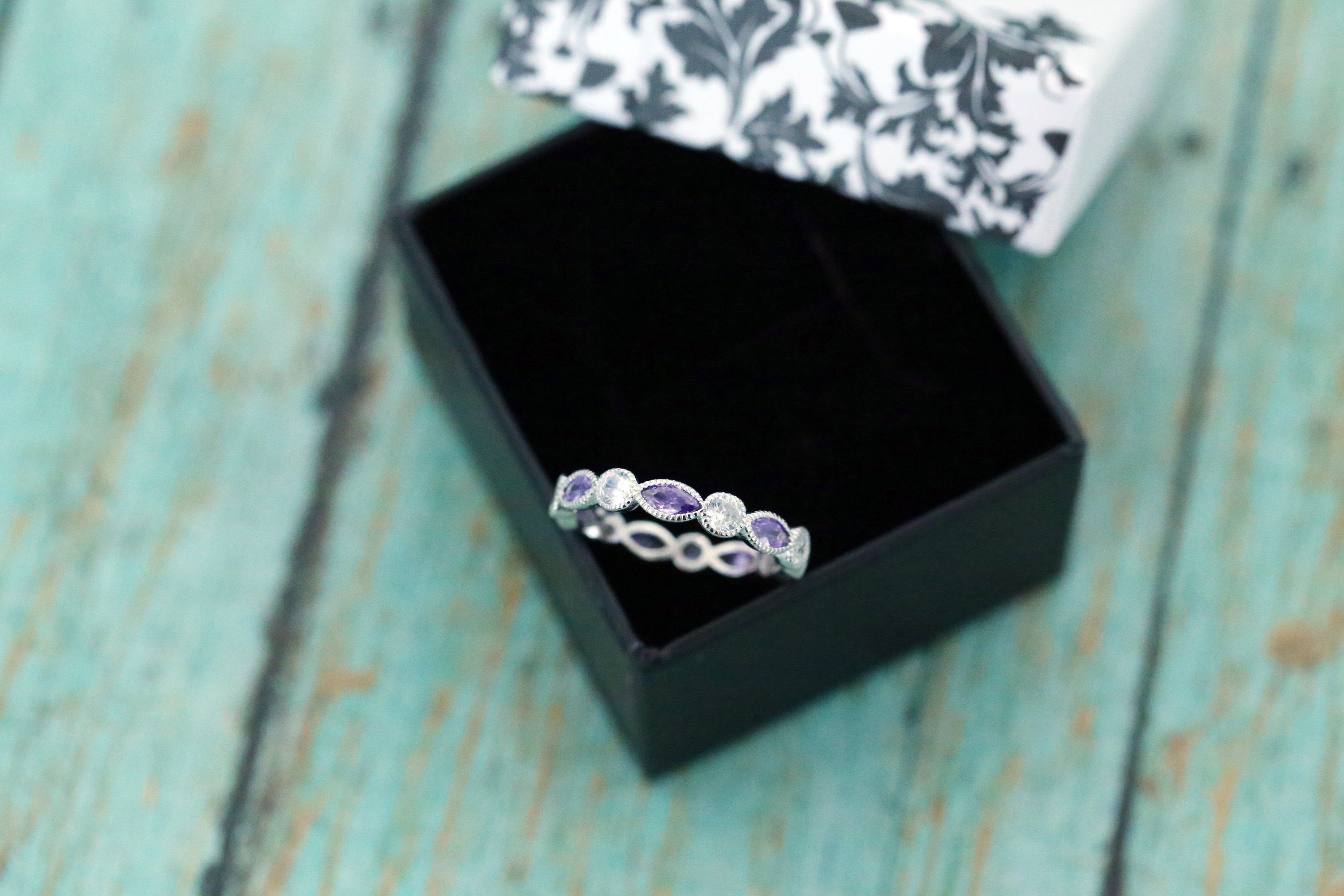 Sterling Silver Amethyst Marquise and Round Eternity Band