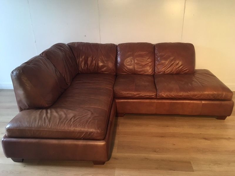 Brown real leather corner sofa with free delivery within London   Clapham, London   Gumtree